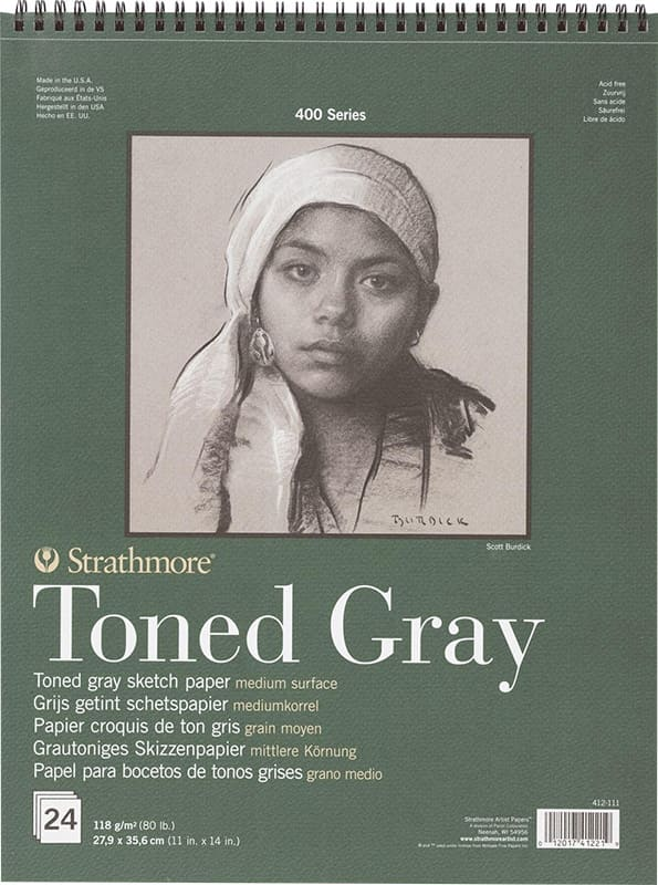 Strathmore Toned Gray Sketch paper 27,9x35,6cm 400 series 118g 24ks