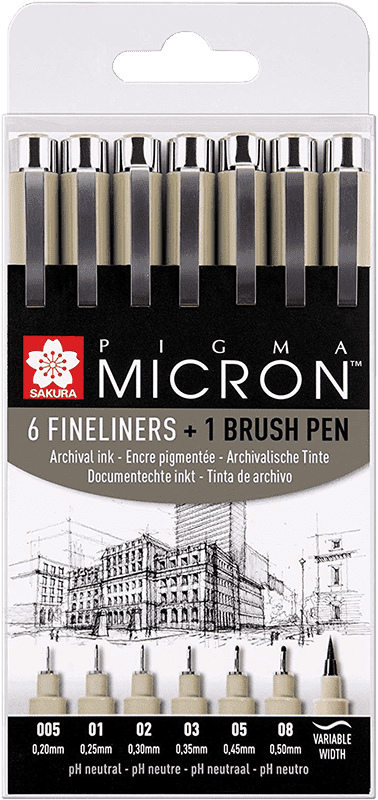 SAKURA Pigma Micron - 6 ks + 1ks BRUSH PEN